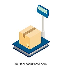 Scales for weighing with box icon