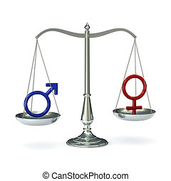 Scales gender symbols - Classic scales of justice with male...