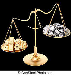 scales - gold bullion heavier than silver coins. Isolated on...