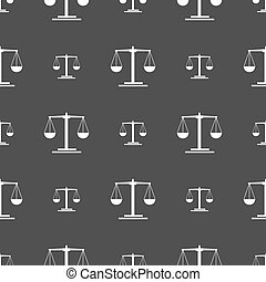 scales Icon sign. Seamless pattern on a gray background. Vector