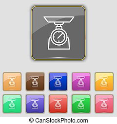 Scales Icon sign. Set with eleven colored buttons for your site. Vector