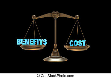 Scales in benefits and cost concept- 3d rendering