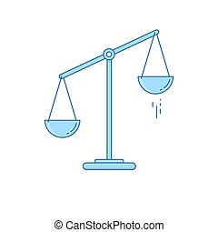 Scales is transferred to one side. Imbalance of scales. Vector illustration Flat line design