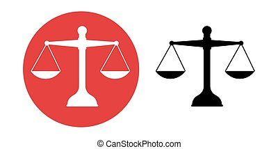 Scales Justice icon. Trendy flat style for graphic design, web-site. Stock Vector illustration.