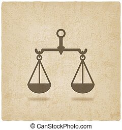 scales justice symbol old background