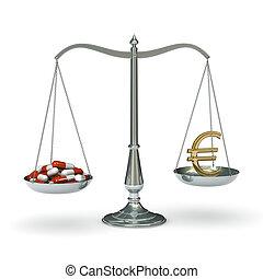 Scales medicine and euro