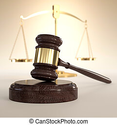 Scales of Justice and gavel - 3D illustration of scales of...