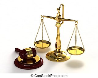 Scales of justice and gavel. - Gold scales of justice and...