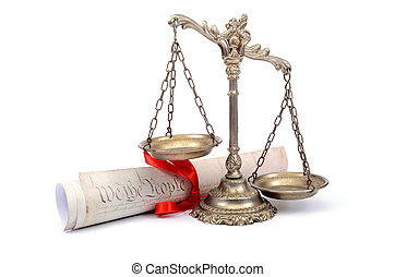 Scales of justice and US Constitution.