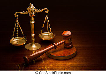 Scales of Justice and Wooden Gavel on the desk, 3D rendering