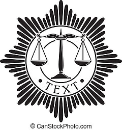 scales of justice badge (symbol, order, emblem)