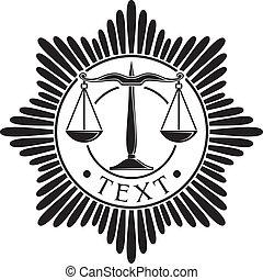 scales of justice badge (symbol, order, emblem)