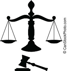 Black silhouette of scales of justice with gavel