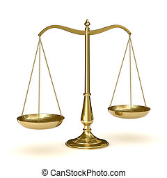 Classic scales of justice, isolated on white