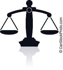 Scales of justice - Dark blue silhouette of scale with ...