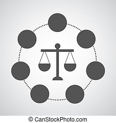 scales of justice on gray background