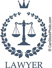 Scales of justice emblem for law firm design
