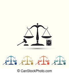 Scales of justice, gavel and book icon isolated on white background. Symbol of law and justice. Legal law and auction symbol. Set elements in colored icons. Flat design. Vector Illustration