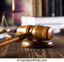 Scales of justice, gavel and law bo
