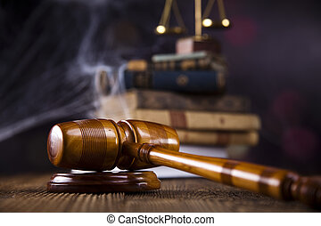 Scales of justice, gavel