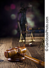 Scales of justice, gavel, law book