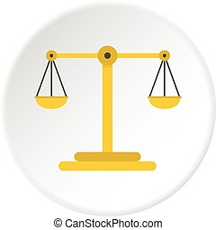 Scales of justice icon circle