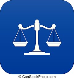Scales of justice icon digital blue