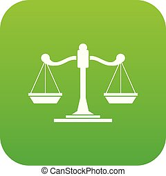 Scales of justice icon digital green