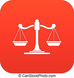 Scales of justice icon digital red