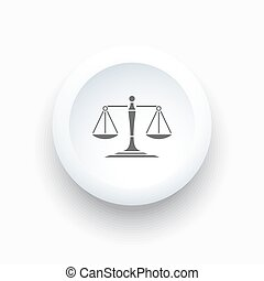 Scales of justice icon on a simple white button