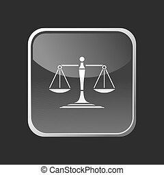 Scales of justice icon on a square button
