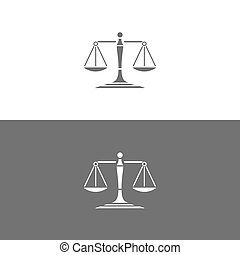 Scales of justice icon on white and dark backgrounds