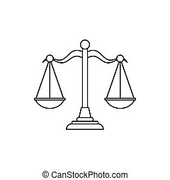 Scales of justice icon, outline style