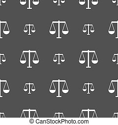 Scales of Justice icon sign. Seamless pattern on a gray background. Vector