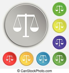 Scales of Justice icon sign. Symbol on eight flat buttons. Vector