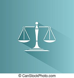 Scales of justice icon with shadow on a blue background