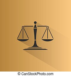 Scales of justice icon with shadow on a yellow background