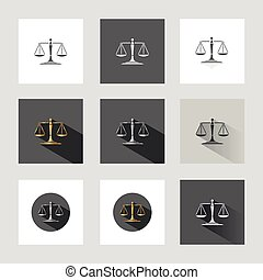 Scales of justice icons in nine versions and grey background