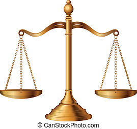 Illustration of the scales of justice symbolizing the measure of a case's support and opposition in a court of law.