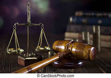 Scales of Justice, judge gavel, coins