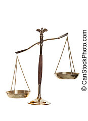 Justice scales shot on a white background.