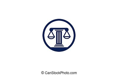 scales of justice law pole in circle logo design