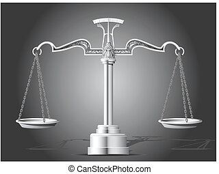 Ornate, silver scale of justice