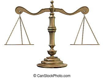 Scales Of Justice - An old school bronze justice scale with...