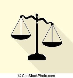 Scales of Justice sign. Black icon with flat style shadow path on cream background.