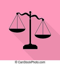 Scales of Justice sign. Black icon with flat style shadow path on pink background.