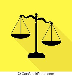 Scales of Justice sign. Black icon with flat style shadow path on yellow background.