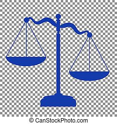 Scales of Justice sign. Blue icon on transparent background.