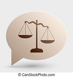 Scales of Justice sign. Brown gradient icon on bubble with shadow.