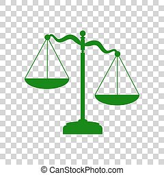 Scales of Justice sign. Dark green icon on transparent background.